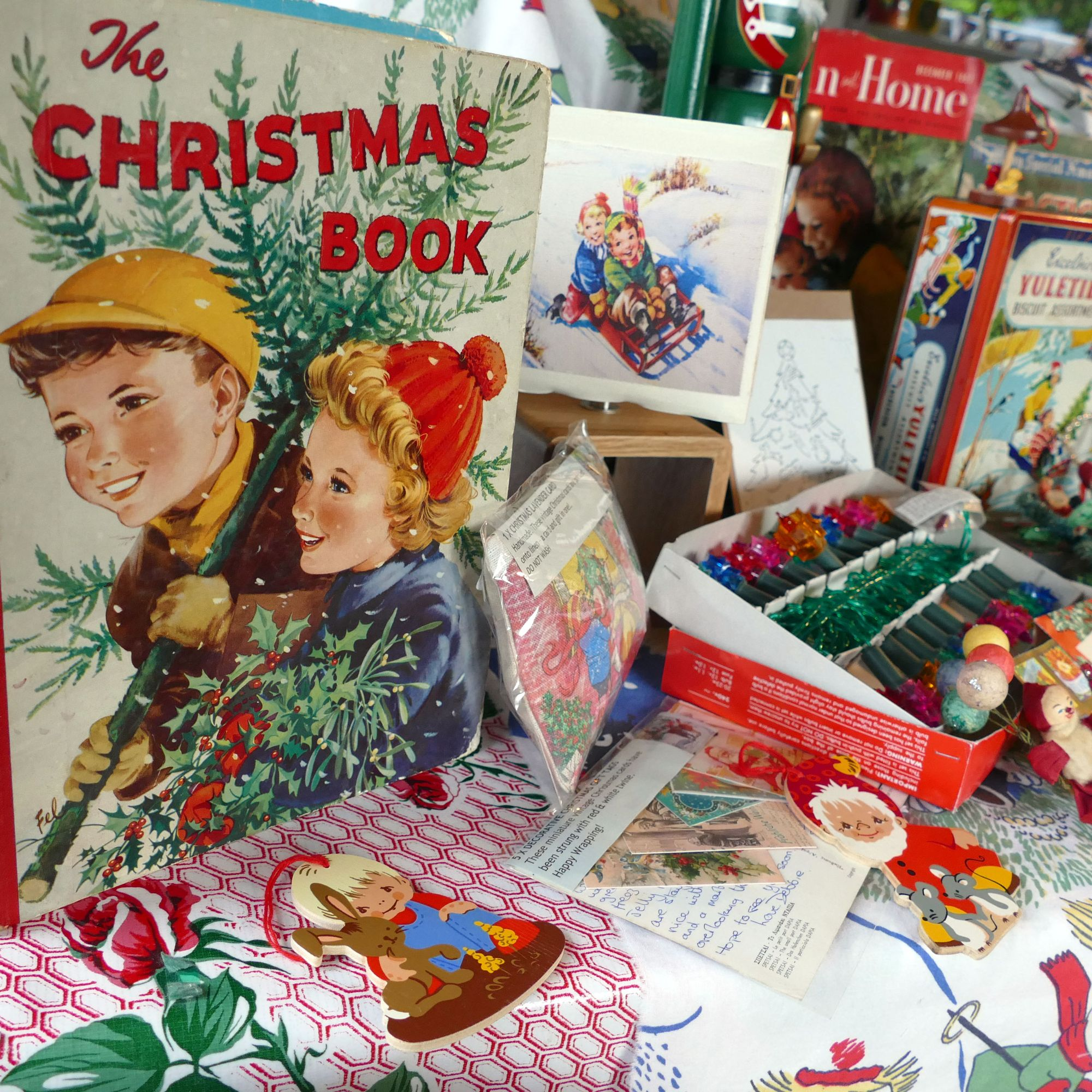 vintage christmas book and santa