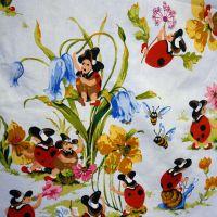 Vintage Sanderson Ladybird Cotton Blue - 120cm x 100cm