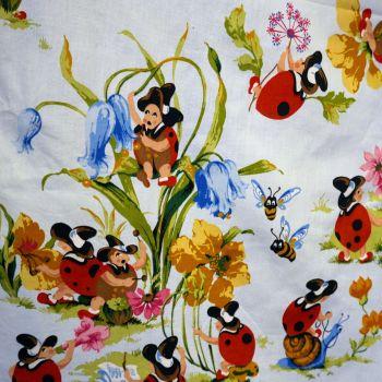 Vintage Sanderson Ladybird Cotton Blue - 125cm x 100cm