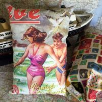 Vintage Printed Travel Pillow & Bag