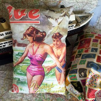 Vintage Printed Travel Pillow & Bag - with or without Lavender