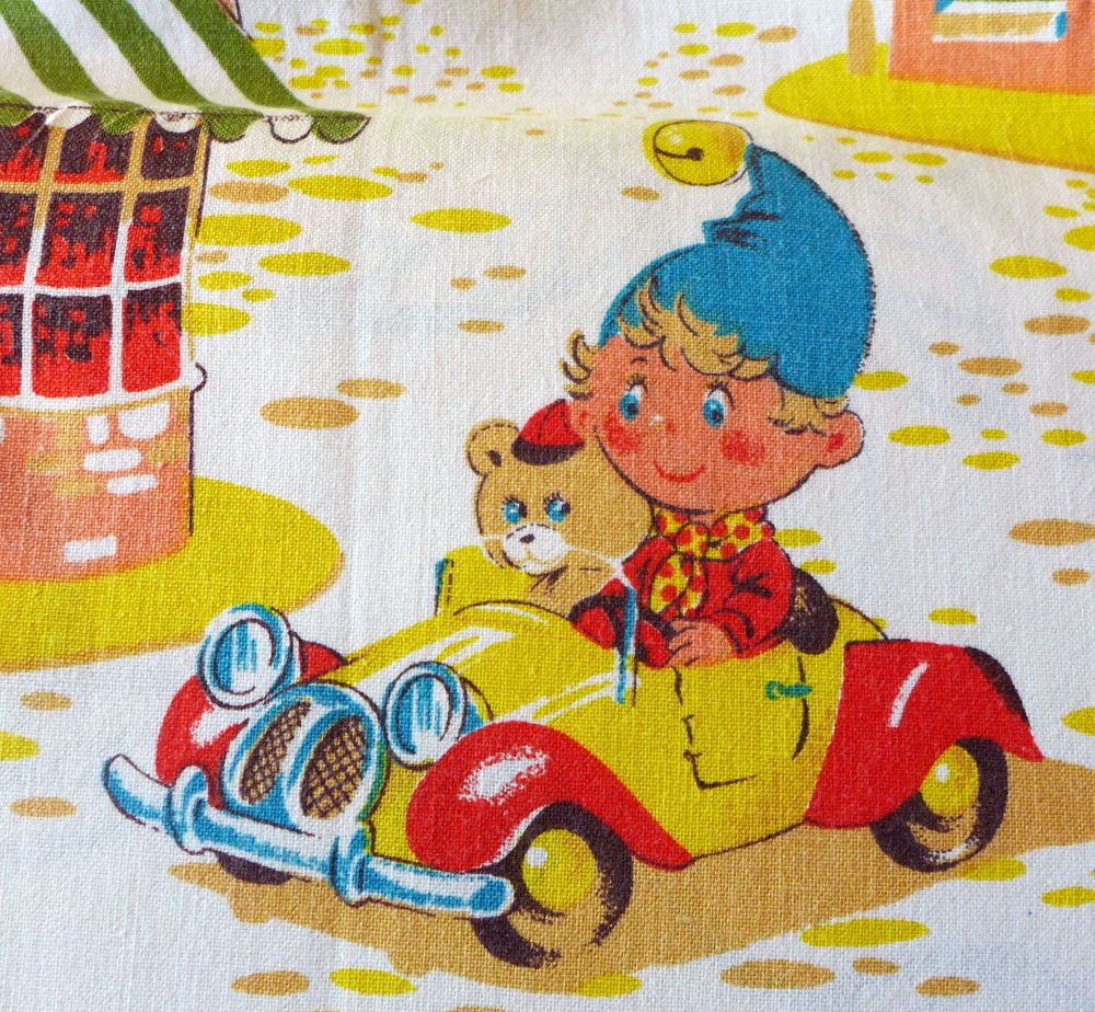 Great Condition Vintage Noddy Fabric by Coloroll - 120cm Wide - 1970's