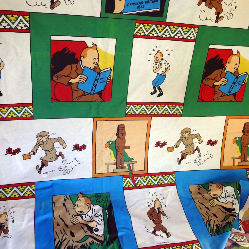 Vintage Tintin Cartoon Fabric - UNUSED - 130cm x 100cm