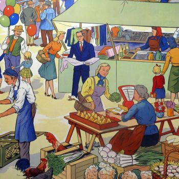 Vintage French Classroom Poster - Market/The Hunt