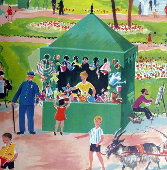 Vintage French School Print - Helen Poirie - The Park