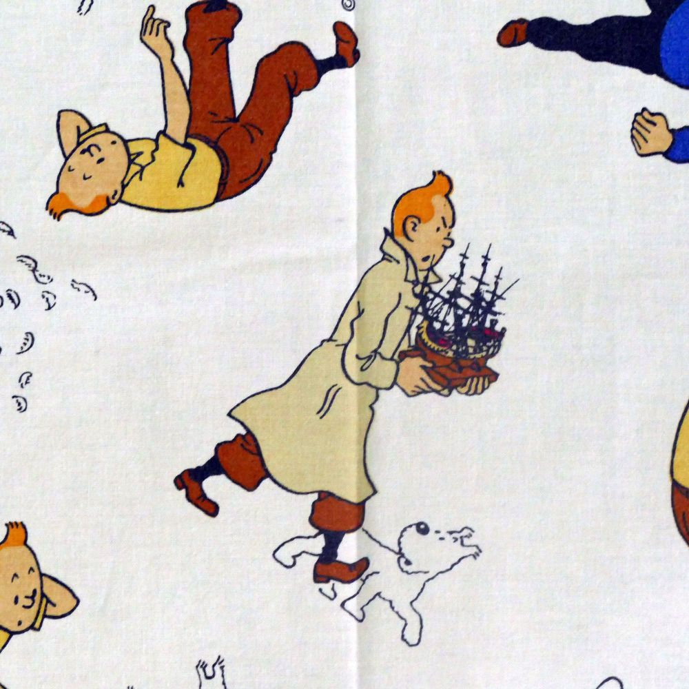 Vintage Tintin Fabric - The Secret of the Unicorn - 50cm x 50cm