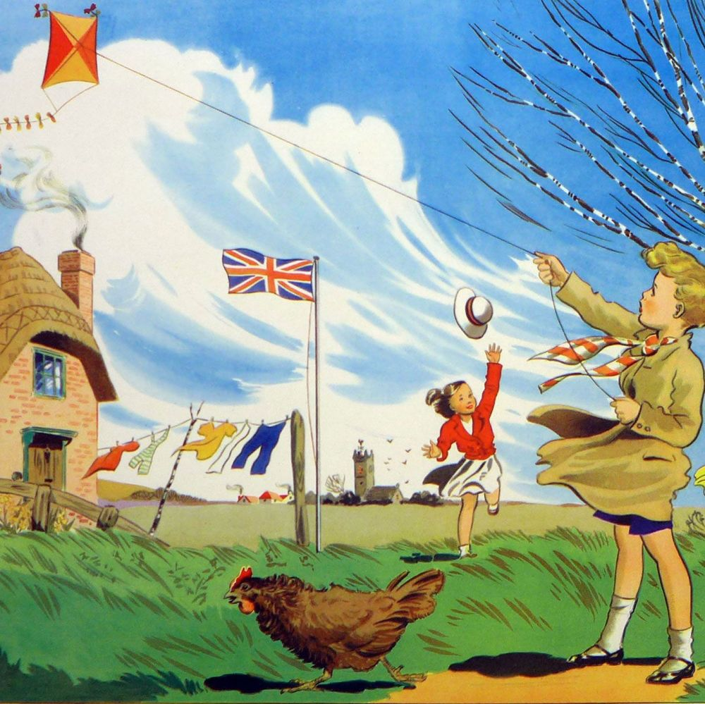 Vintage School Poster 1938 - A Windy Day