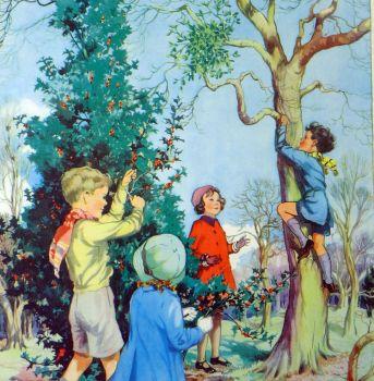 Vintage School Poster 1938 - Holly & Mistletoe