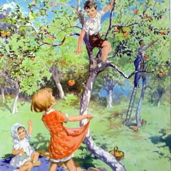 Vintage School Poster 1938 - The Apple Orchard