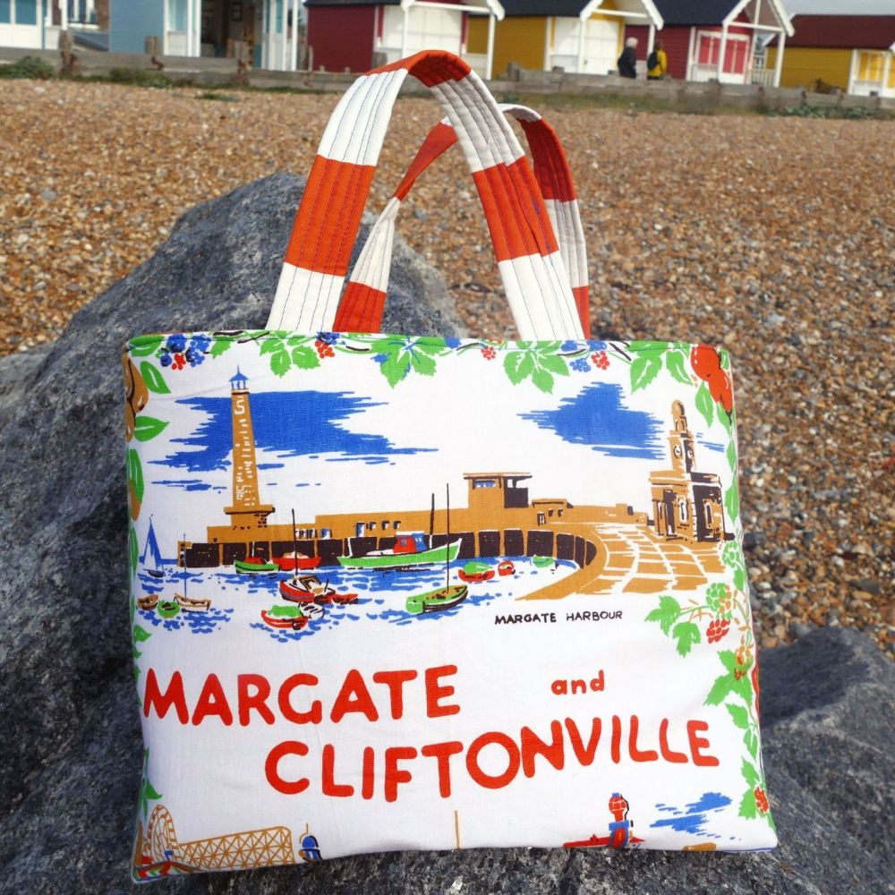 Vintage Shopping Bag - Margate - Upcycled Market Bag