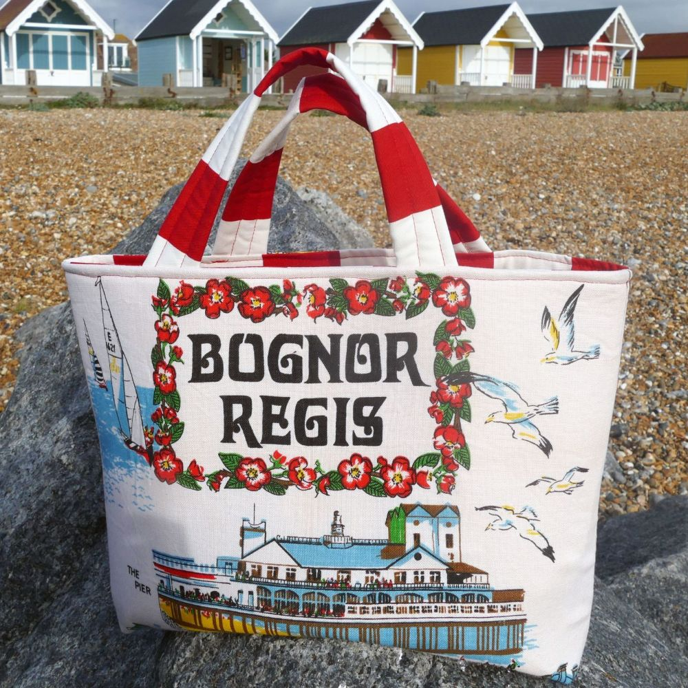Vintage Shopping Bag - Bognor Regis - Upcycled Market Bag