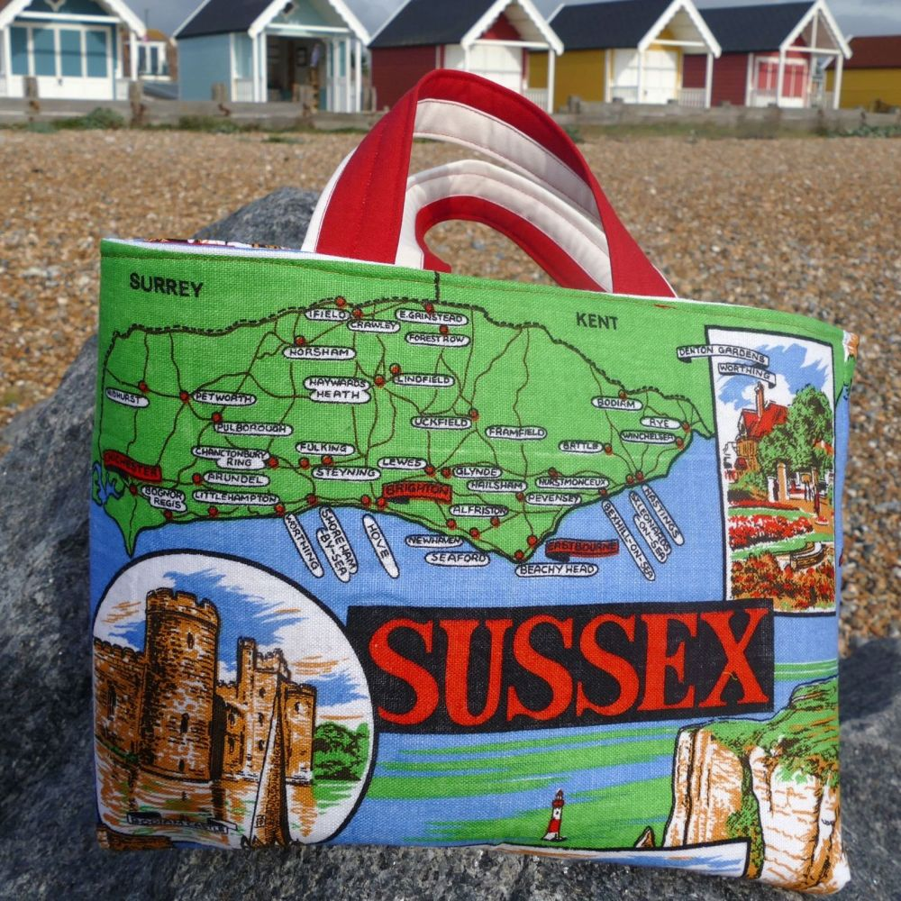 Vintage Shopping Bag - Sussex - Upcycled Market Bag