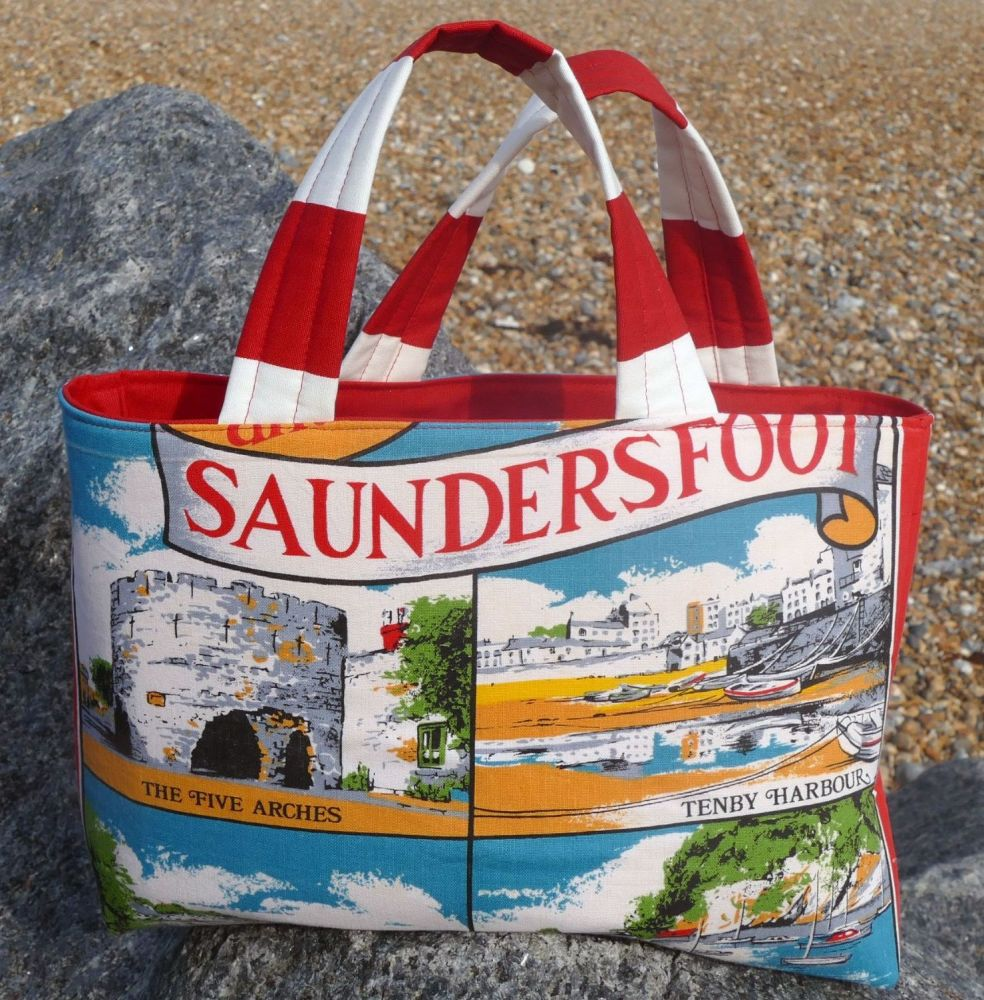 Vintage Shopping Bag - Tenby - Upcycled Market Bag