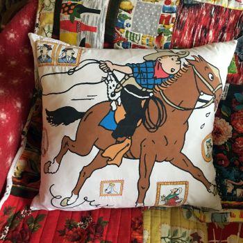 Tintin Cushion - Tintin in America - Double Sided - Vintage Cotton
