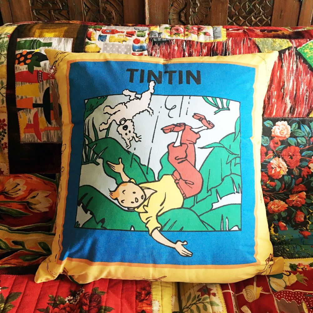 Tintin Cushion - Tintin in America - Double Sided - Vintage Cotton
