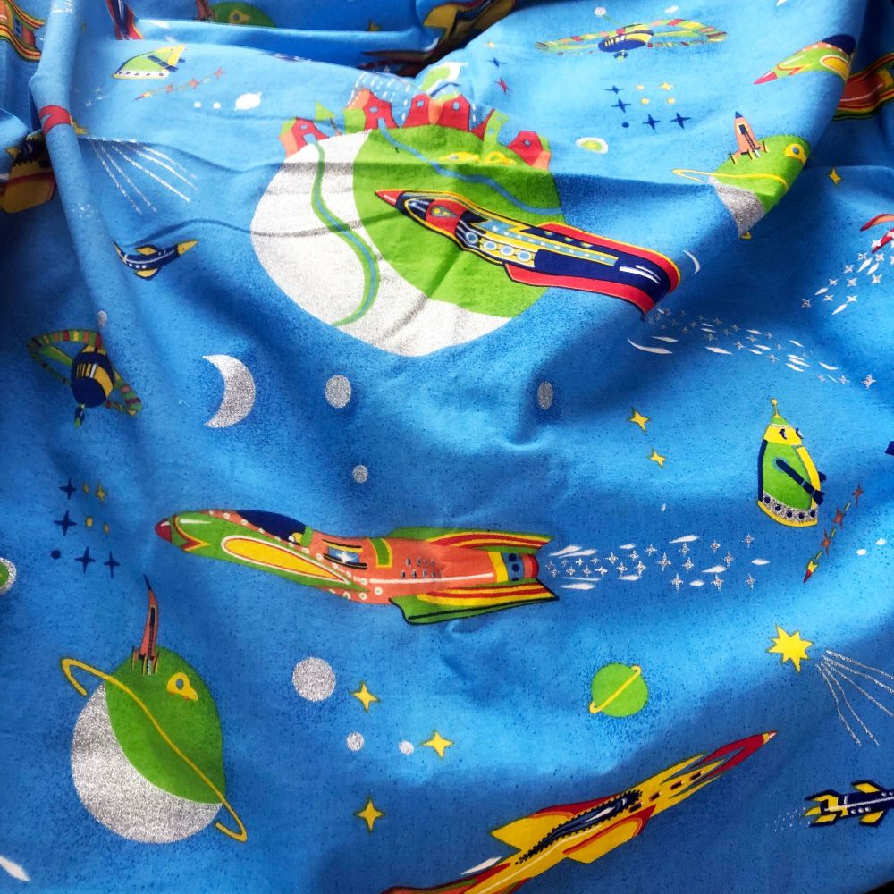 Spaceship Rocket Fabric - 140cm x 100cm