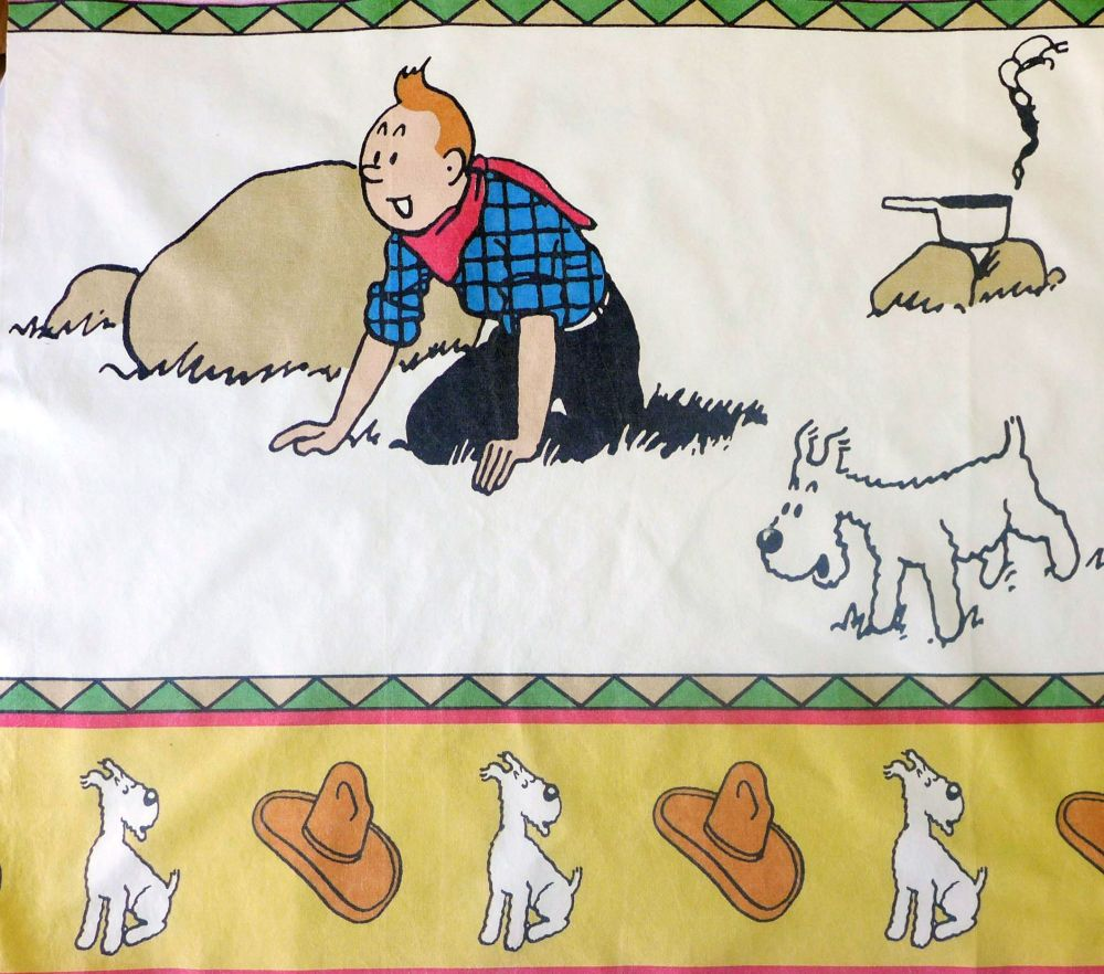 Tintin in America - Cotton Panel - Campfire