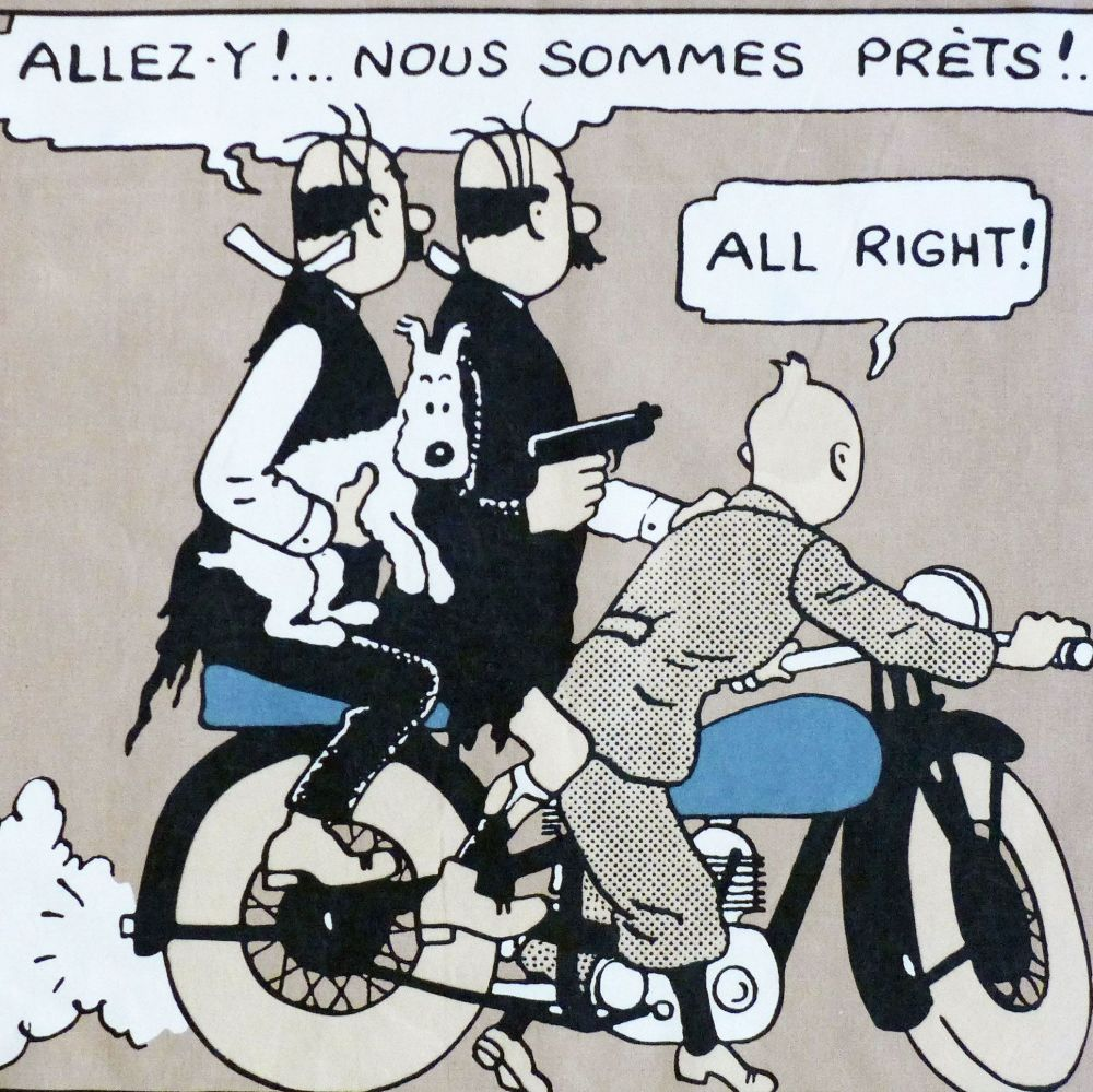 Tintin Fabric Panel - Tintin & The Thomsons - 48cm x 40cm - Blue or Taupe