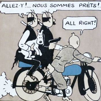 Tintin Fabric Panel - Tintin & The Thomsons - 48cm x 40cm - Blue or Taupe