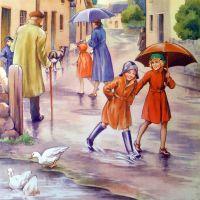 Vintage School Poster 1938 - A Rainy Day