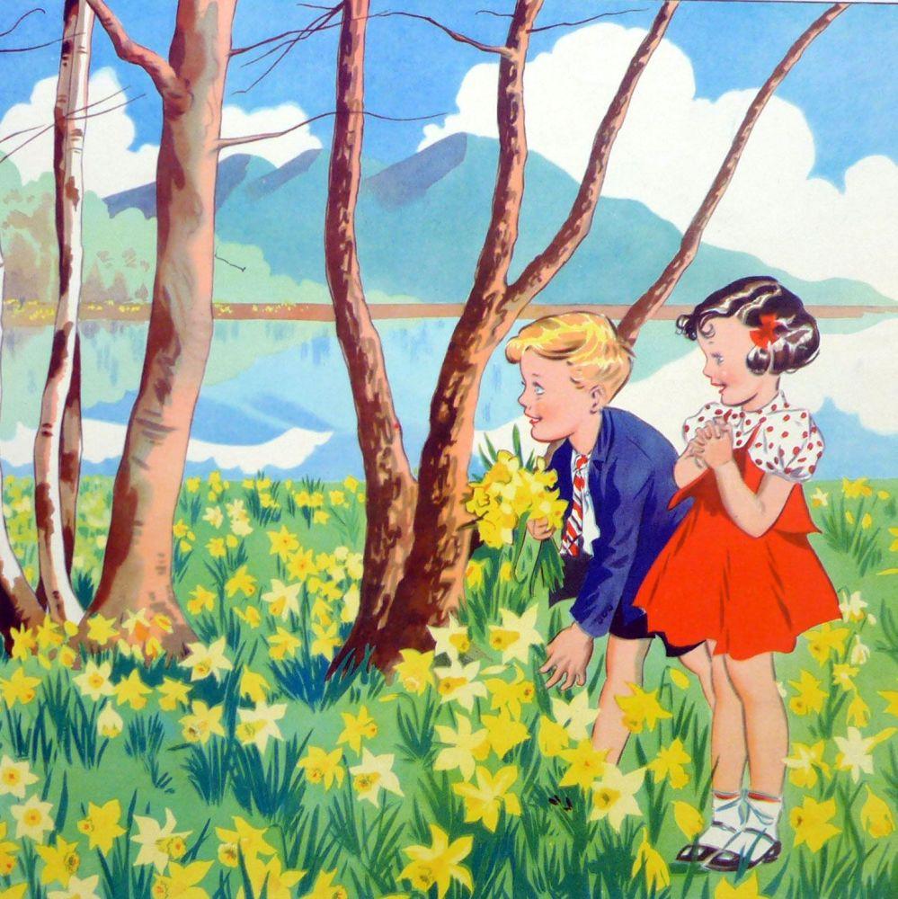 Vintage School Poster 1938 - Daffodils