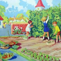 Vintage School Poster 1938 - The School Vegetable Garden