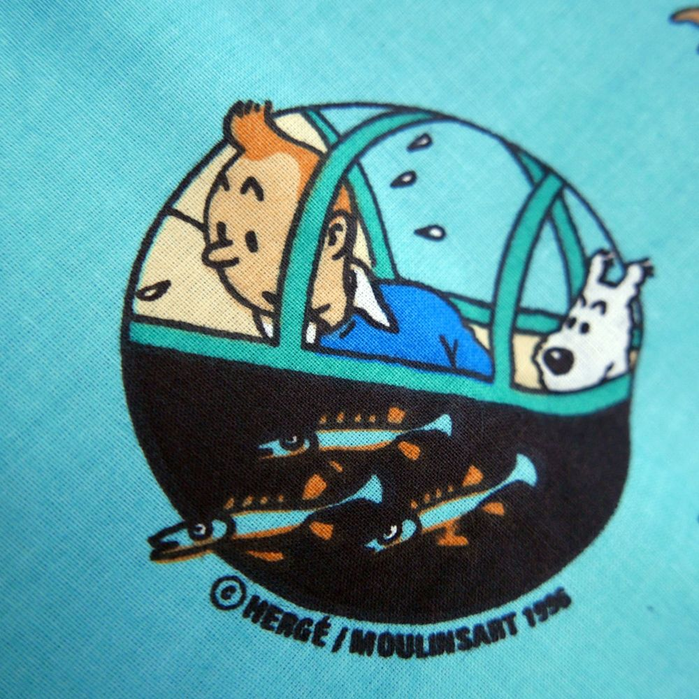 Vintage Tintin Fabric - Red Rackham's Treasure - 70cm x 40cm