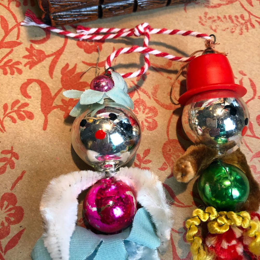 1940's Mecury Glass Christmas Tree Decorations