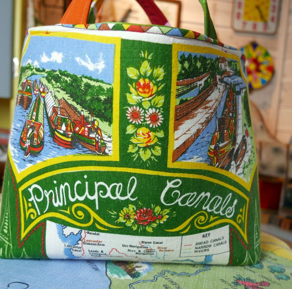 Structured Market Bag - Canals - Vintage Souvenir Bag