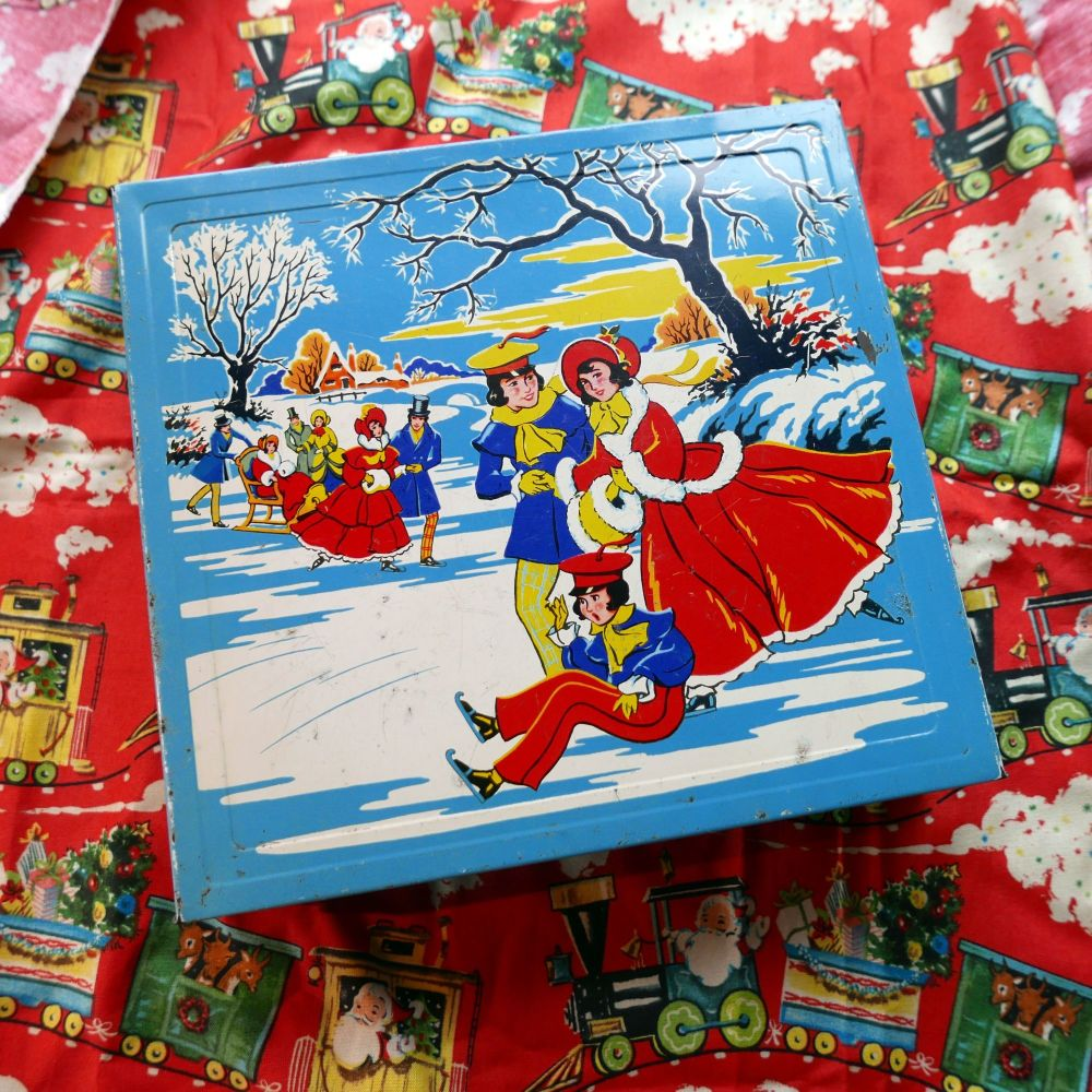 Vintage Christmas Biscuit Tin - Skating