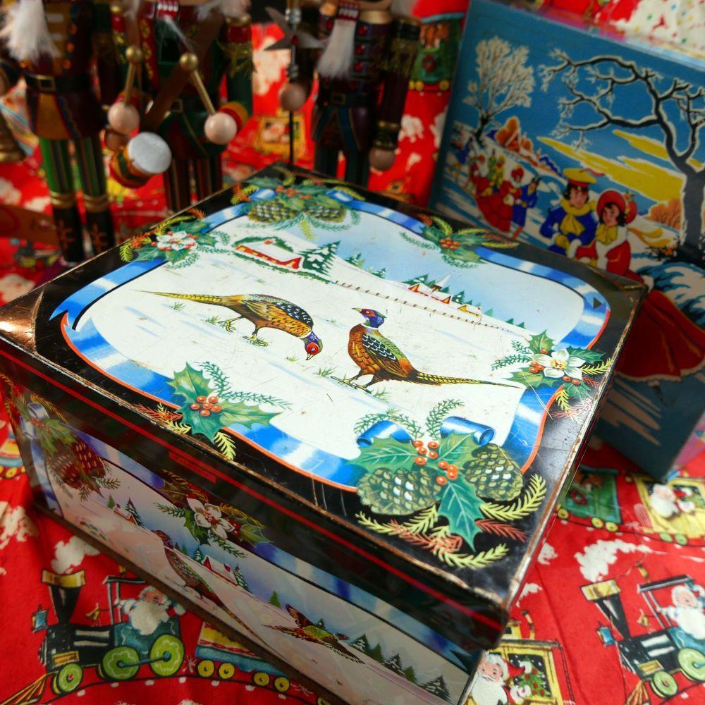 Vintage Christmas Biscuit Tin - Pheasants - Huntley & Palmer