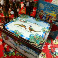 Vintage Christmas Biscuit Tin - Pheasants - Huntley & Palmer