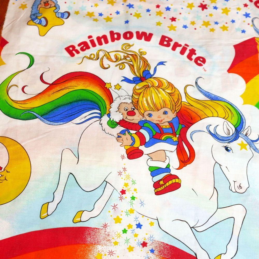 Vintage Rainbow Brite Fabric - 1980's - 78cm x 45cm
