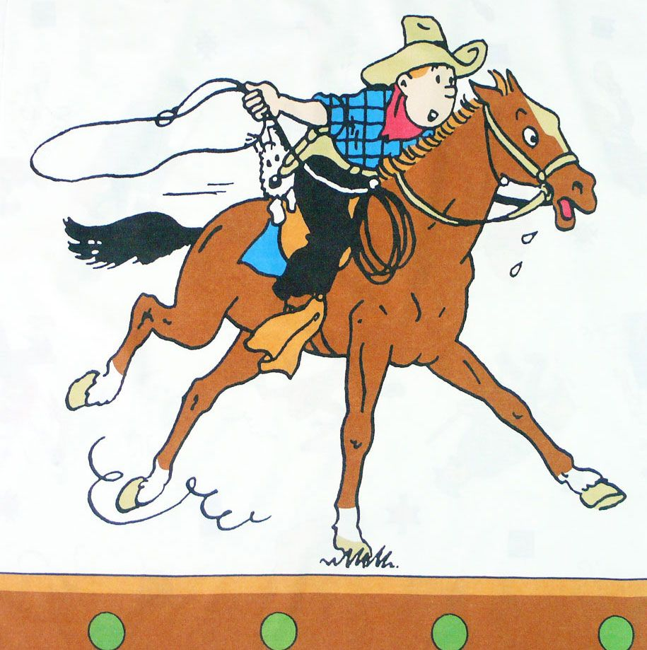 Tintin in America - Cotton Panel - Tintin on a Horse - 60cm x 60cm