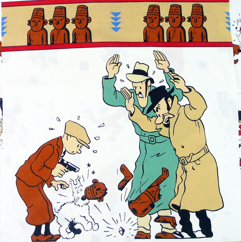 Tintin and the Broken Ear Cotton Panel- 60cm x 60cm