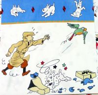Tintin and the Broken Ear Cotton Panel - Parrot - 60cm x 60cm