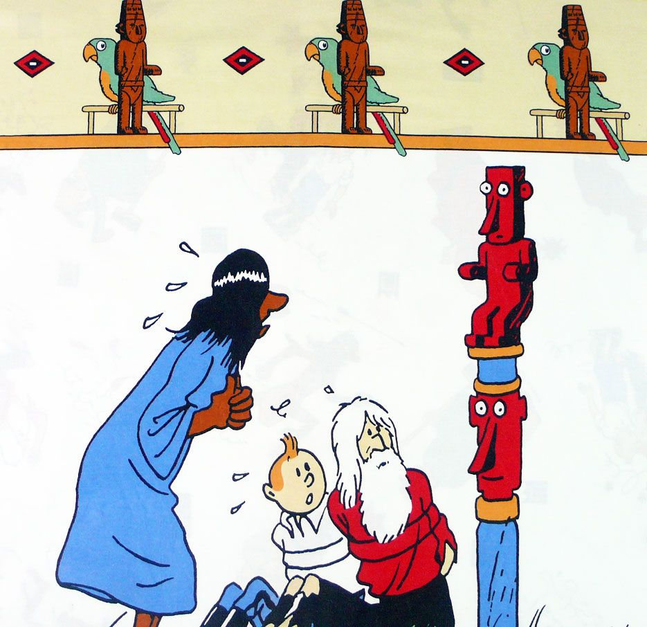 Tintin and the Broken Ear Cotton Panel - Totem - 55cm x 55cm
