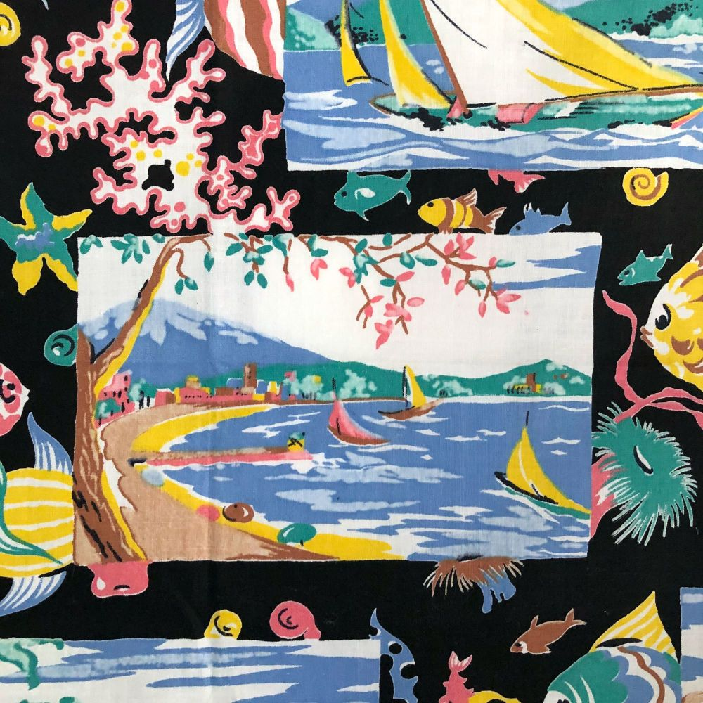 Vintage Picture Cotton - Swimming - Tropical - 88cm x 44cm - Fifties Cotton