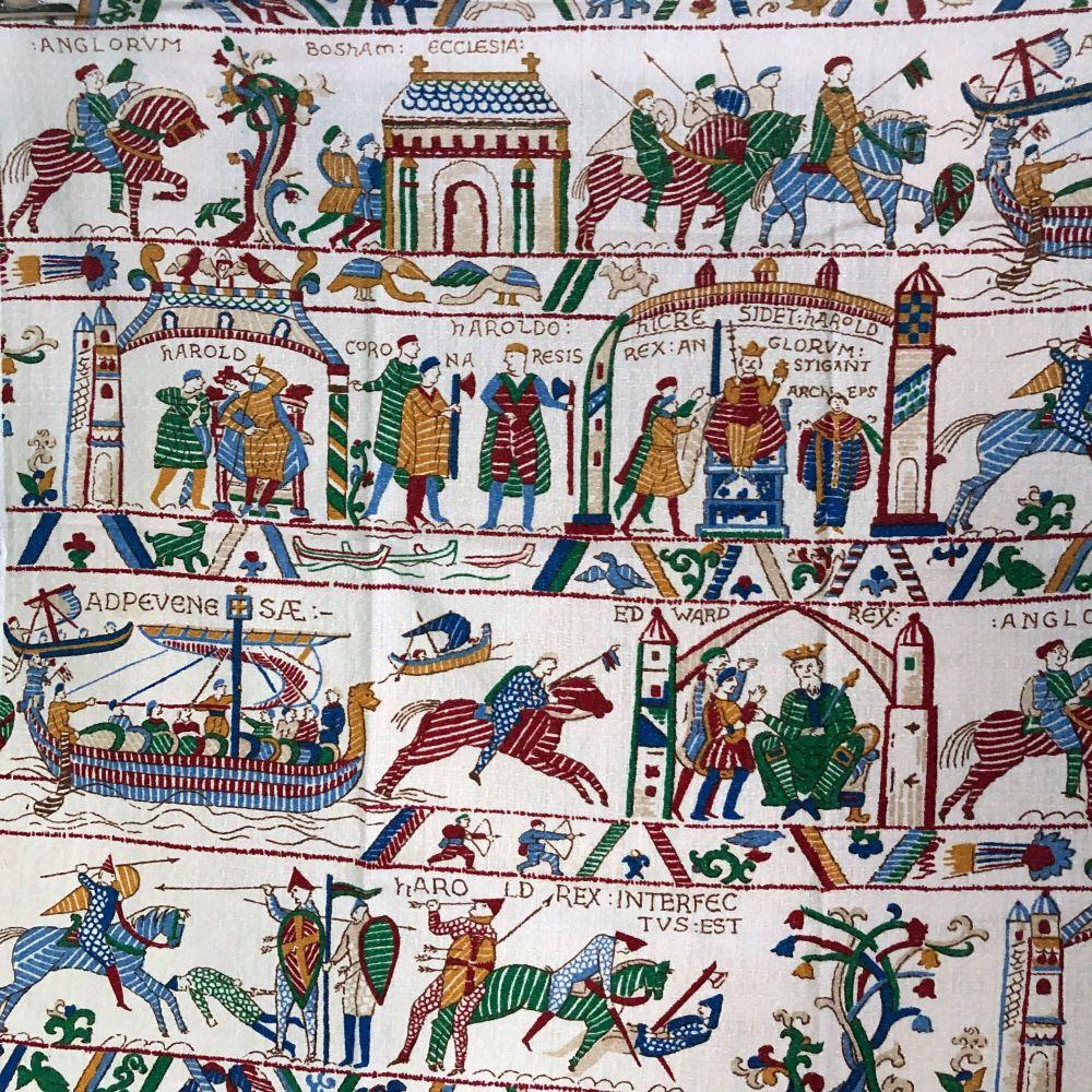 1950's Barkcloth - Bayeux Tapestry - 107cm x 73cm