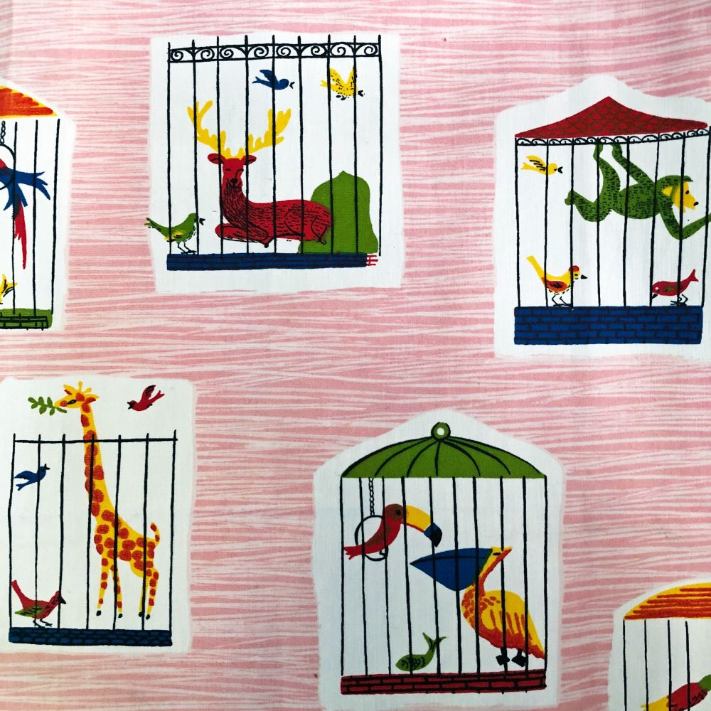 Vintage French Zoo Fabric - Various Sizes/Colours