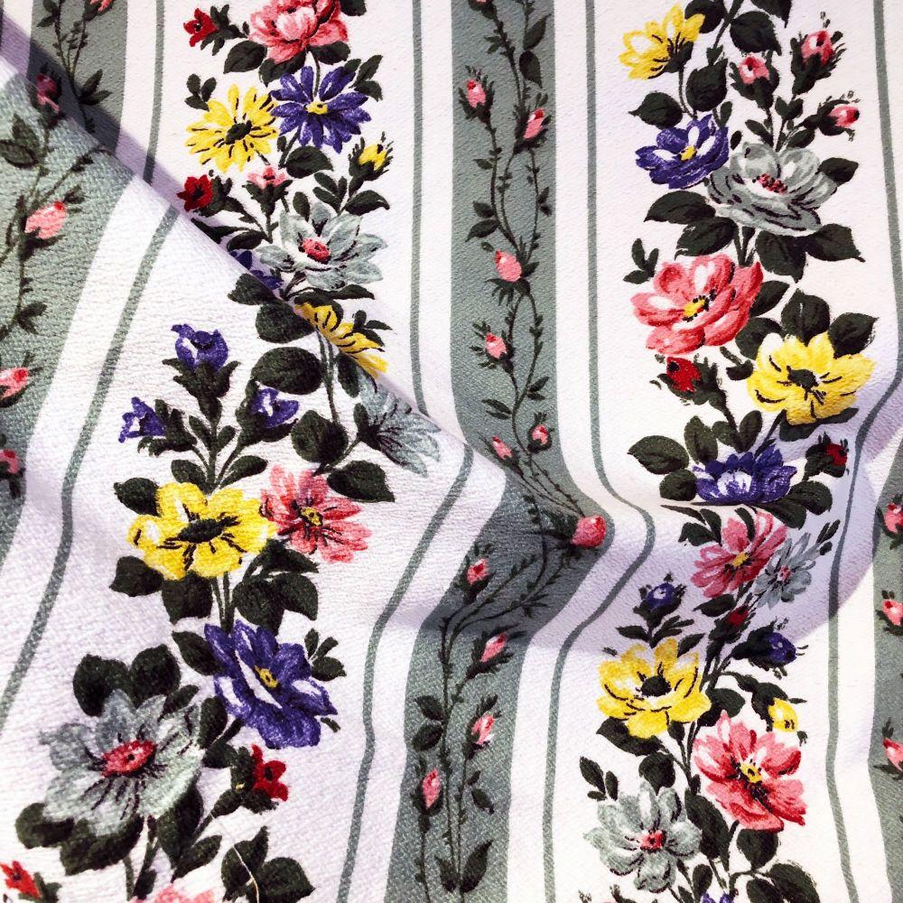 1950's Striped Floral Barkcloth - 97cm Wide
