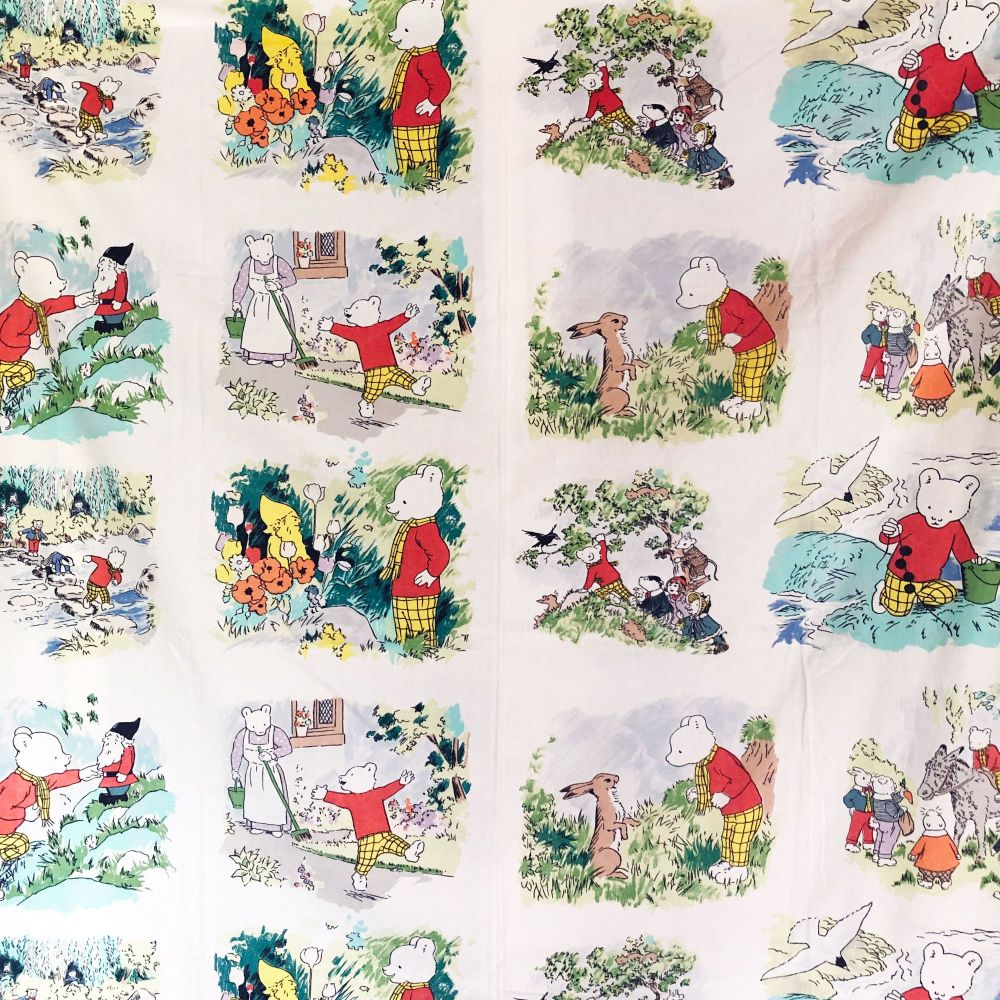 1970's Rupert the Bear Cotton - 120cm x 70cm