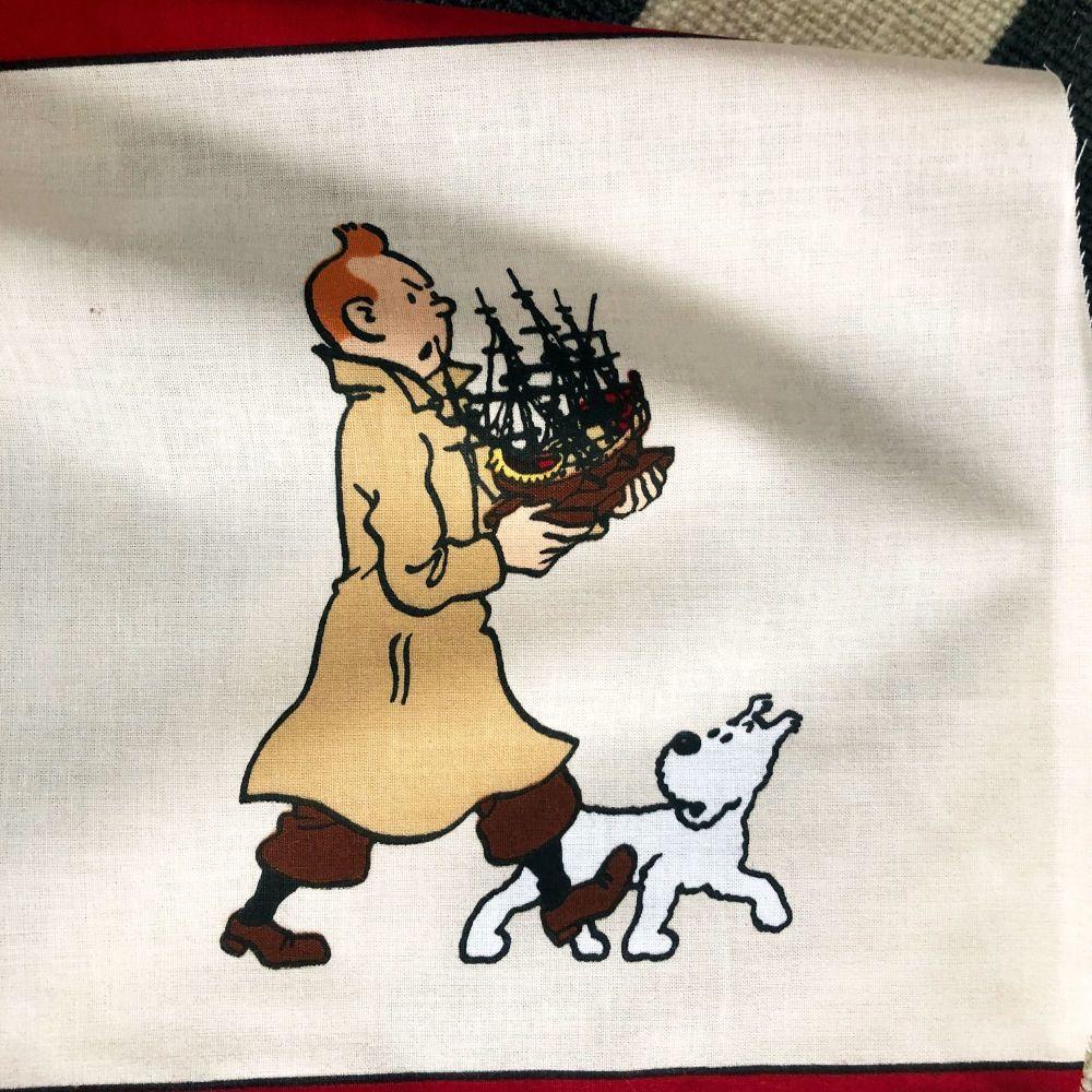 Vintage Tintin Fabric - The Secret of the Unicorn - 50cm x 50cm