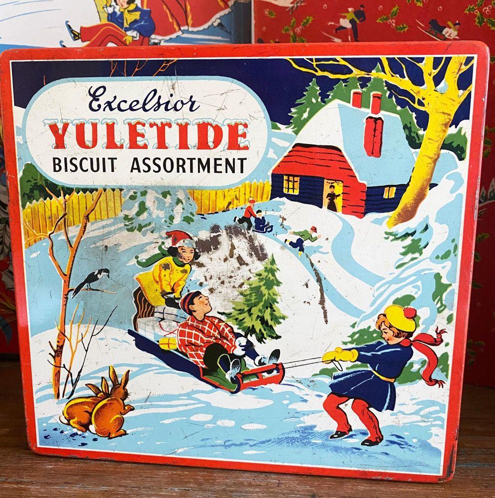 Vintage Christmas Biscuit Tin - Sledge