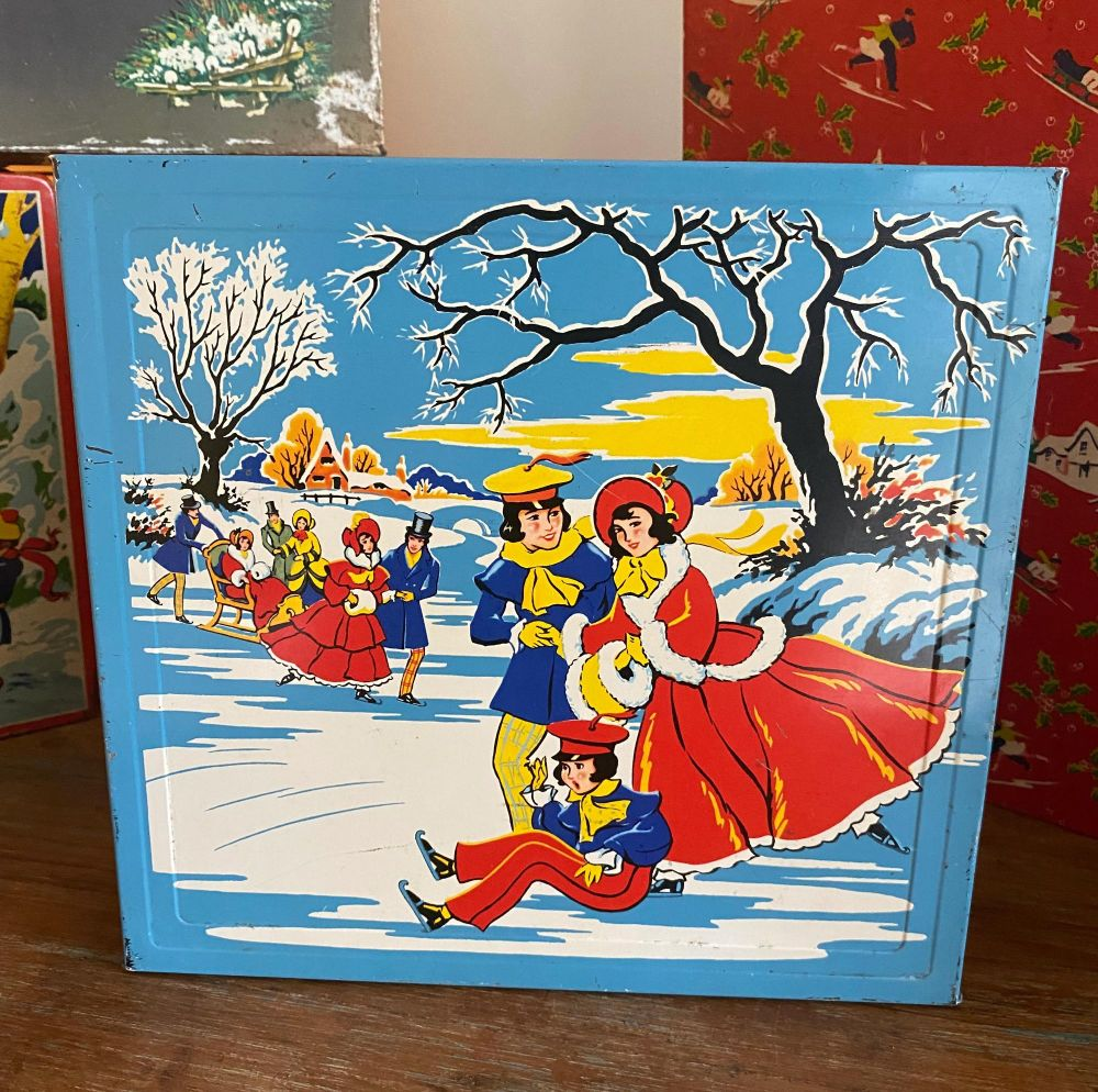 Vintage Christmas Tin by Elkes - Skaters