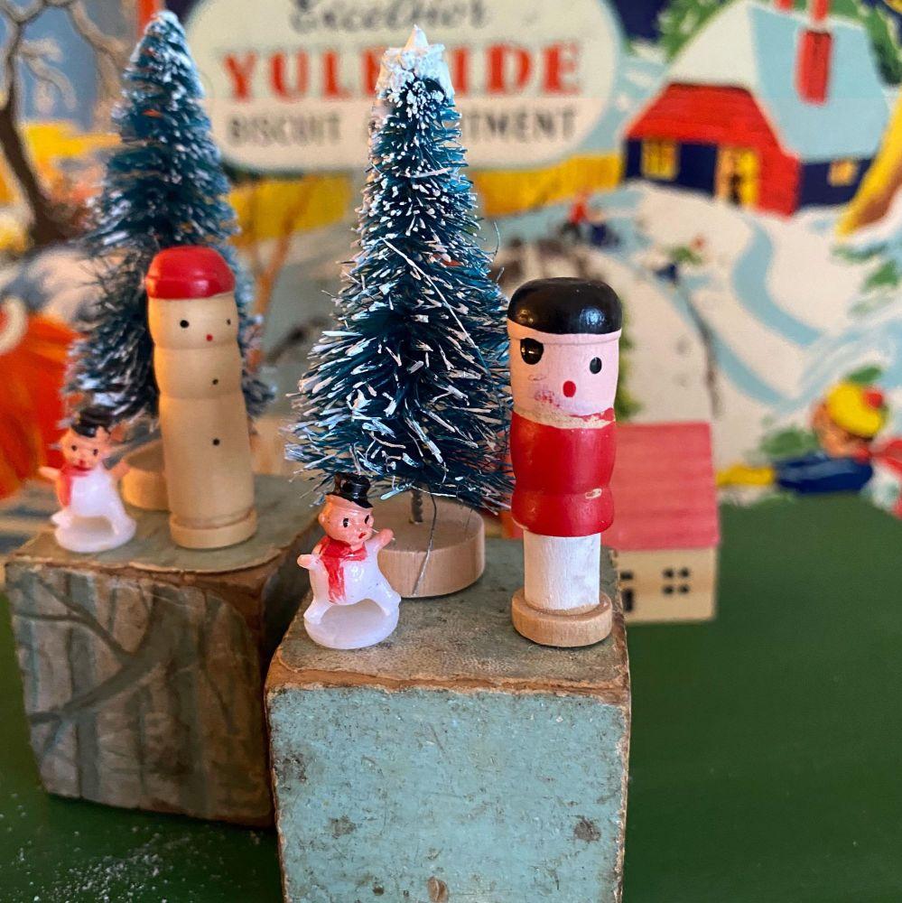 Vintage Christmas Decorations - Handmade - Folk Art Style