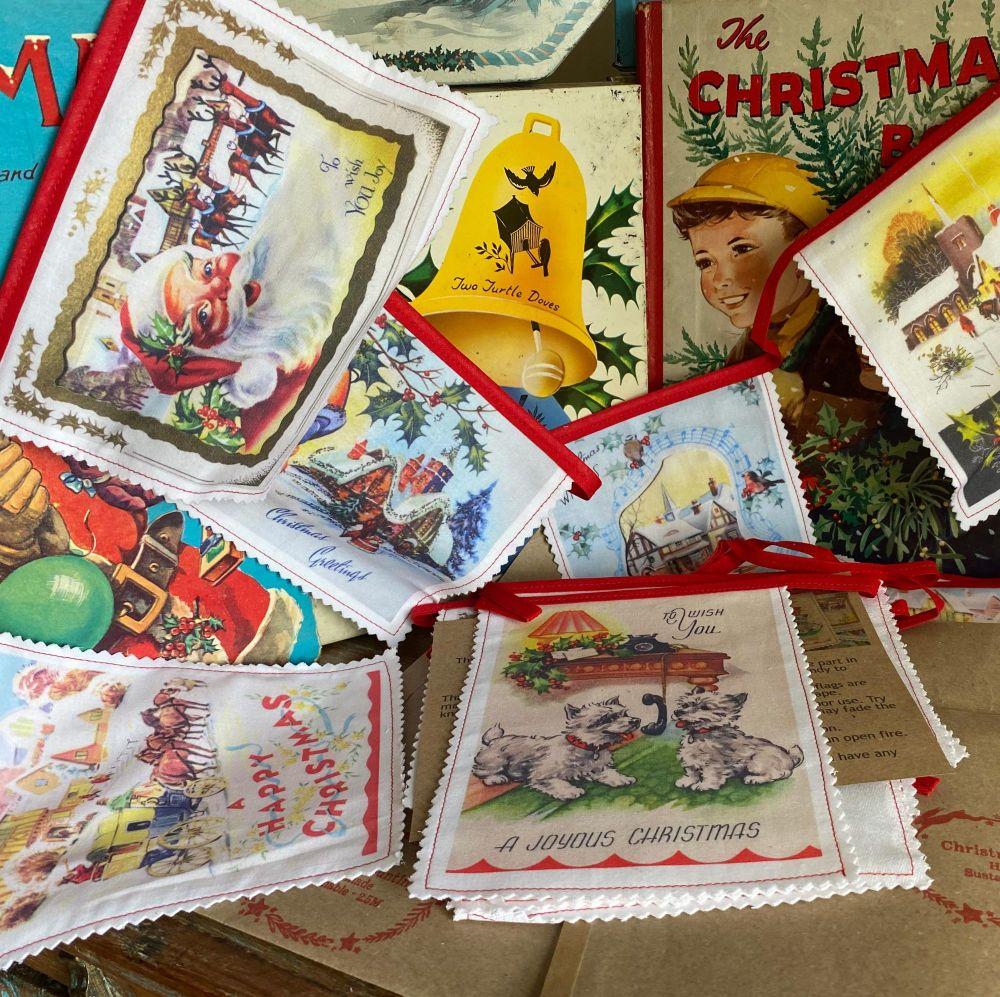 Vintage Christmas Bunting - Cotton - Printed