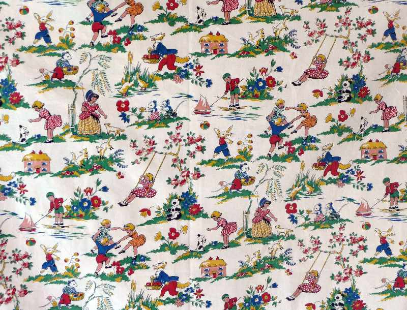 Original vintage 1930 39 s childrens fabric for Childrens cotton fabric