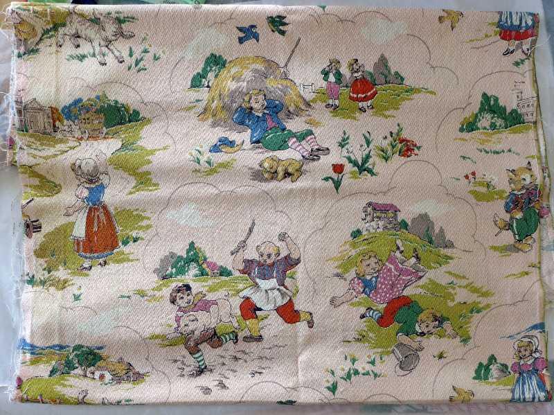 Vintage childrens nursery rhyme barkcloth for Vintage childrens fabric