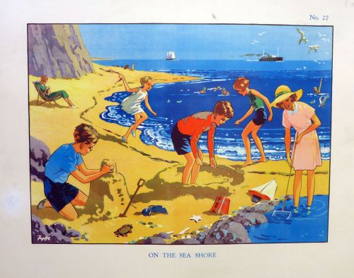 Vintage School Poster 1930's/40's - The Seashore